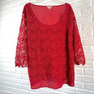 Adiva red crochet lace top size 3x